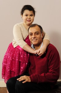 Cancer surgeon and Great Scot 2013 winner Nadeem Siddiqui and his daughter Ayesha Siddiqui  who suffers from leukaemia at their home in Newton Mearns. eleganza sposa glasgow, eleganza sposa event, noreen siddiqui glasgow ,eleganza sposa fundraiser, eleganza collezioni collection, eleganza sposa catwalk show, ayesha siddiqui glasgow, ayesha siddiqui bone marrow appeal, antony nolan org uk, bespoke occasion dresses glasgow, daniela flores photography,
