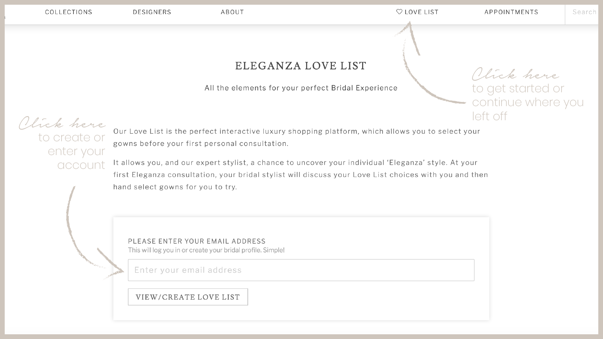 HOW TO: Use the Eleganza Love List. Desktop Image